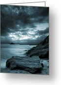 Monochromatic Greeting Cards - Stormy Ocean Greeting Card by Jaroslaw Grudzinski