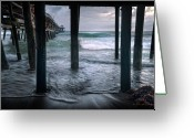 San Clemente Pier Greeting Cards - Stormy Pier Greeting Card by Gary Zuercher