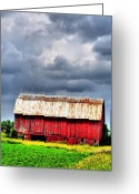 Red Barns Greeting Cards - Stormy Red Greeting Card by Emily Stauring