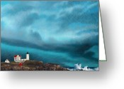 Storm Drawings Greeting Cards - Stormy Sentinel Greeting Card by Brent Ander