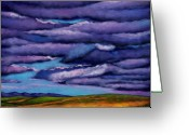 Contemporary Greeting Cards - Stormy Skies Over the Prairie Greeting Card by Johnathan Harris
