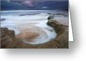Ocean Beach Greeting Cards - Stormy Sunrise Greeting Card by Mike  Dawson