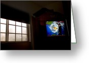 Observatories Greeting Cards - Stormy View Outside Window Greeting Card by Raul Touzon