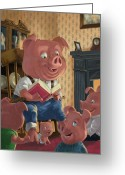 M P Davey Greeting Cards - Story Telling Pig With Family Greeting Card by Martin Davey