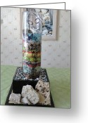 Mixed-media Glass Art Greeting Cards - Storyteller Greeting Card by Tyna Silver