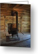 Log Cabin Photographs Photo Greeting Cards - Stove in a Cabin Greeting Card by Jeff Moose