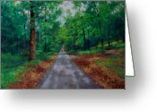 Woods Pastels Greeting Cards - Straight and Narrow Greeting Card by Marcus Moller