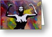 Silver Nude Painting Greeting Cards - Strain of the silver thread. Greeting Card by Tautvydas Davainis