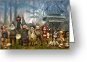 Gnome Greeting Cards - Strange Family Greeting Card by Jutta Maria Pusl