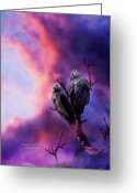 Bird Of Prey Mixed Media Greeting Cards - Strange Togetherness Greeting Card by Carol Cavalaris