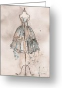 Charcoal Greeting Cards - Strapless Champagne Dress Greeting Card by Lauren Maurer