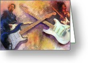 Rock Musicians Greeting Cards - Strat Brothers Greeting Card by Andrew King