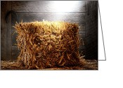 Feed Greeting Cards - Straw Bale in Old Barn Greeting Card by Olivier Le Queinec