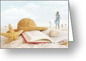 Blank Greeting Cards - Straw hat  book and seashells in the sand Greeting Card by Sandra Cunningham
