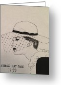 Old Ladies Drawings Greeting Cards - Straw Hat Greeting Card by Sarah Parks