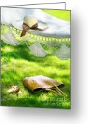 Green Day Greeting Cards - Straw hat with brown ribbon laying on hammock Greeting Card by Sandra Cunningham