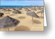 Fun Greeting Cards - Straw Sunshades Greeting Card by Carlos Caetano