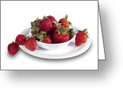 Fresh Picked Fruit Greeting Cards - Strawberries in a White Bowl No.0029v1 Greeting Card by Randall Nyhof