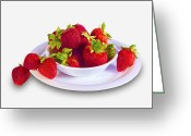 Fresh Picked Fruit Greeting Cards - Strawberries in a White Bowl No.0029v2 Greeting Card by Randall Nyhof