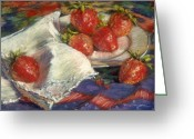 Strawberry Pastels Greeting Cards - Strawberries Greeting Card by L Diane Johnson