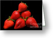 Delicacy Greeting Cards - Strawberries On Velvet Greeting Card by Andee Photography