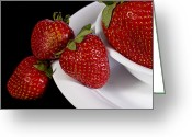 Fresh Picked Fruit Greeting Cards - Strawberry arrangement with a White Bowl No.0036 Greeting Card by Randall Nyhof