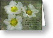 Flower Works Greeting Cards - Strawberry Blooming Proverbs Greeting Card by Cindy Wright