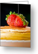 Calories Greeting Cards - Strawberry butter pancake with honey maple sirup flowing down Greeting Card by Ulrich Schade