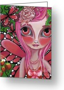 Boho Greeting Cards - Strawberry Butterfly Fairy Greeting Card by Jaz Higgins