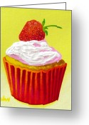Artist Canvas Painting Greeting Cards - Strawberry Cupcake Greeting Card by John  Nolan