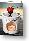 Melt Greeting Cards - Strawberry dipped in chocolate fondue Greeting Card by Elena Elisseeva