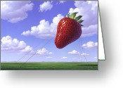 Floating Greeting Cards - Strawberry Field Greeting Card by Jerry LoFaro