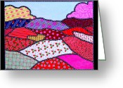 Blue Quilts Greeting Cards - Strawberry Fields Forever Greeting Card by Jim Harris