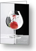 Vortex Greeting Cards - Strawberry in a Glass Greeting Card by Oleksiy Maksymenko