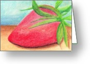 Strawberry Pastels Greeting Cards - Strawberry Greeting Card by Jose Valeriano