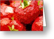 Rosaceae Greeting Cards - Strawberry Mosaic Greeting Card by Anne Gilbert