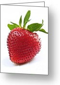 Sweet Greeting Cards - Strawberry on white background Greeting Card by Elena Elisseeva