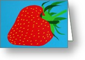 Gloss Greeting Cards - Strawberry Pop Greeting Card by Oliver Johnston