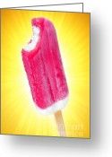 Stick Greeting Cards - Strawberry popsicle Greeting Card by Carlos Caetano