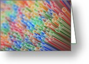 Depth Of Field Greeting Cards - Straws Greeting Card by Kelly Wade