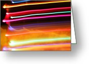 Christmas Lights Greeting Cards - Streaks Greeting Card by Ty Helbach