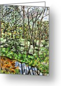 Carolina Painting Greeting Cards - Stream at Ligon Mill Road Greeting Card by Micah Mullen