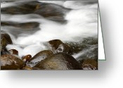 Flood Greeting Cards - Stream flowing over rocks Greeting Card by Les Cunliffe