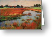 Bright Pastels Greeting Cards - Stream Through Colorful Field Greeting Card by Barbara Jaenicke