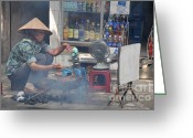 Asia Greeting Cards - Street chef Greeting Card by Marion Galt