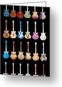 Rennie Greeting Cards - Street Guitars of Woodstock Greeting Card by Guy Harnett