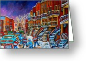 Hockey Street Scenes In Montreal Greeting Cards - Street Hockey Game In Winter Greeting Card by Carole Spandau