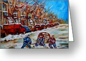 Hockey Street Scenes In Montreal Greeting Cards - Street Hockey Hotel De Ville Greeting Card by Carole Spandau