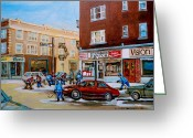 Store Fronts Greeting Cards - Street Hockey On Monkland Avenue Paintings Of Montreal City Scenes Greeting Card by Carole Spandau