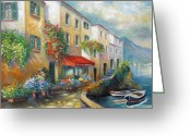 Contry Greeting Cards - Street in Italy bt the Sea Greeting Card by Gina Femrite